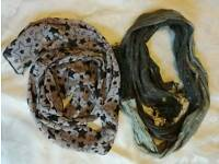 2 thin scarves