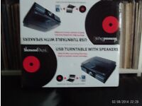 Vinyl Record player turntable Mp3 converts boxed new Sherwood USB with speakers