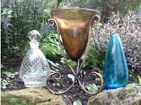 3 coloured glass vases 30, 23 and 18 cm tall