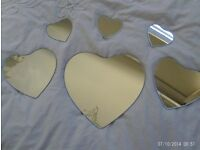 NEW 6 heart shaped wall mirrors