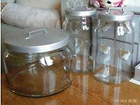3 large heavy glass storage jars with lids