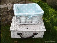 strong white storage baskets x 2