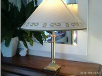Brass table lamp & shade 45x42cm