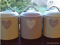 NEW 3 enamel storage tins with lids