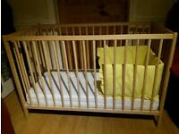 Ikea wooden cot with matress and bumper
