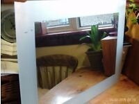 large frosted glass mirror 71x51cm