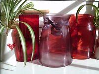 3 coloured glass vases 19x14cm