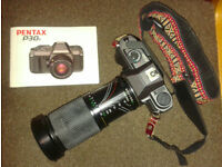 Pentax Manual SLR Camera, 80‑200mm lens, Flash Unit and Carry Case