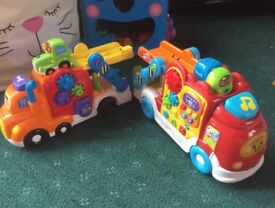 2 x LARGE vtech toot toot trucks plus 2 small