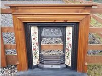 116 Cast Iron Fireplace Surround Fire Wood Old Tiled Insert Antique Victorian