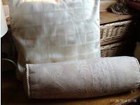 pair cream zipped cushions