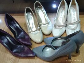 4 pairs of leather heels size 6