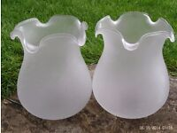 2 white frosted glass shades 17x 14 cm each
