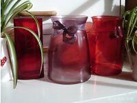 3 coloured glass vases, 19x14cm