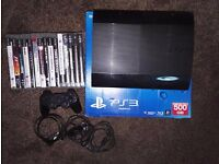 PS3 Playstation 3 super slim 500gb + 16 games (GTA V - FIFA 16- ASSASSIN CREED - METAL GEAR)