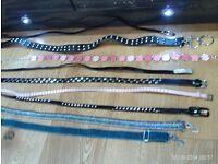 9 stylish belts, size approx 10/12