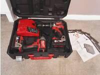 Milwaukee 5ah drill/ impact driver twin set