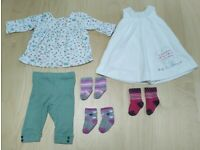 6 Piece Marks and Spencer Bundle Matching Baby Girl Clothes Set 3-6 Months