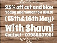 25% off cut and blow
