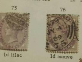 GB QUEEN VICTORIA LILAC 2 1/2d STAMPS X 2 ONE WITH 14 DOTS IN CORNER AND ONE WITH 16, WATERMARK