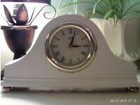 white wooden mantle clock 25x15cm