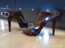 brown suede effect heels size 6