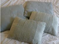 4 suede effect zipped cushions with pads 50x50 & 44x32cm