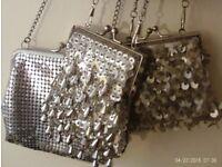 3 silver clip purses / shoulder bags
