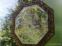 antique gold bevelled edge mirror 44x44cm