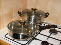 "2x quality Carlton Royal Luxe stainless steel 10"" pans with glass lids, made in Germany, vgc"