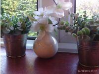 3 faux plants & pots