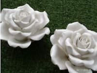 2 JOHN LEWIS white china roses 13x8cm