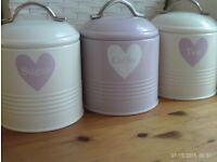 TEA COFFEE & SUGAR metal storage tins