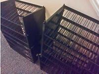 4 metal shelving units to store or display spray cans