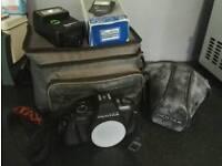 Pentax P30 camera, bag + flash
