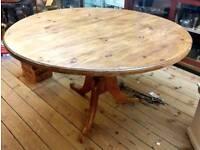 Vintage waxed pine circular dining table