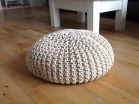 Knitted pod pouffe - Natural colour