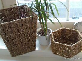 NEW 2 metal framed storage baskets