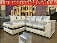 Brand new crushed velvet corner sofa sets with free matching footstool included😍🔥✅