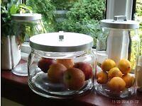 3 large heavy glass storage jars with metal lids