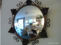 antique convex mirror 44x44cm