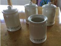 Cream Ceramic Kitchen Storage Canisters