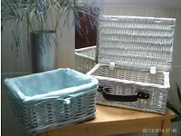 2 white strong storage baskets