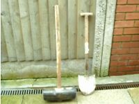 Building tools builders Flaggers Maul and Bulldog shovel ready for work