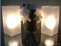 pair white glass lamps & bulbs 23x10cm