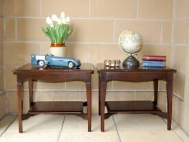 VINTAGE PAIR OF STAG MAHOGANY LAMP / COFFEE / OCCASIONAL TABLES