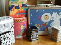 6 assorted storage tins with lids
