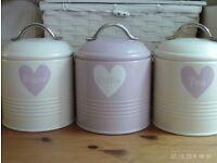 TEA, COFFEE & SUGAR enamel storage tins