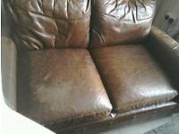 **FREE** REAL LEATHER BROWN 2 SEATER SOFA