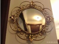 antique vintage convex gold mirror 38 cm diameter